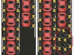 Ilustrasi bagaimana KPMG (dilingkari merah) melakukan kejahatan lalu lintas.
